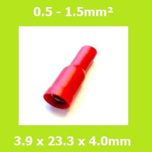 Female, Bullet Terminal, FRD1-156, Double Crimp, RED, Vinyl Insulated, (Pack of 100)