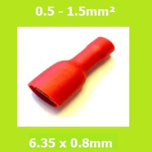Female Crimp Terminal, FDFD1-250,  RED, 6.35x0.8mm, Double Crimp, Vinyl Insulated, (Pack of 100)