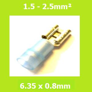 Female Terminal, FDNYD2-250, LIGHT BLUE, 6.35x0.8mm, Double Crimp, Nylon Insulated, (Pack of 100)