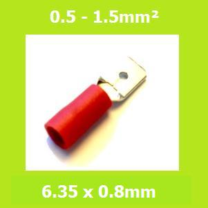 Male, Blade Terminal, MDD1-250, RED, 6.35x0.8mm, Double Crimp, Vinyl Insulated , (Pack of 100)