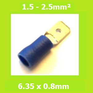 Male, Blade Terminal, MDD2-250, Blue, 6.35x0.8mm, Double Crimp, Vinyl Insulated , (Pack of 100)