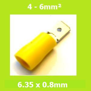 Male, Blade Terminal,  MDD5-250, Yellow, 6.35x0.8mm, Double Crimp, Vinyl Insulated, (Pack of 100)