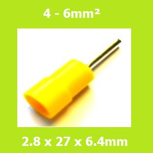 Pin Terminal, PTVY5-12, Yellow, Vinyl Insulated, (Pack of 100)