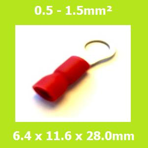 Ring Terminal, RVE1-6, 6.4mm, RED, Vinyl Insulated, (Pack of 100)