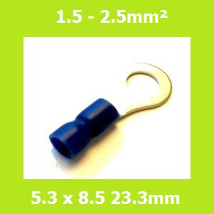 Ring Terminal, RVES2-5, 5.3mm, Blue, Vinyl Insulated, (Pack of 100)