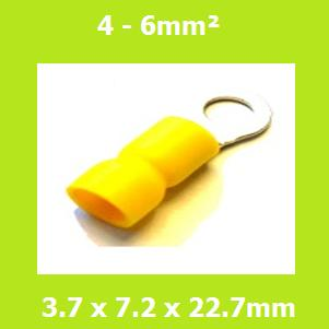 Ring Terminal, RVY5-3.7, 3.7mm, Yellow, Vinyl Insulated, (Pack of 100)