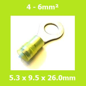 Ring Terminals, RNYD5-5, 5.3mm, Yellow, Nylon Insulated, (Pack of 100)