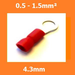 RV1.25-4S Ring Crimp Terminal, 4.3mm, RED, Vinyl Insulated, 0.5-1.5mm² (Pack of 100)