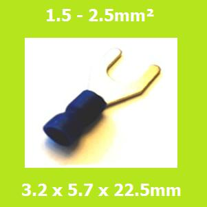 Spade Terminal, Fork Terminals, SVE2-3.2, 3.2mm, Blue, Vinyl Insulated, (Pack of 100)