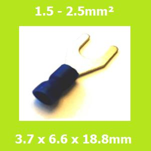 Spade Terminal, Fork Terminals, SVYS2-3.7, 3.7mm, Blue, Vinyl Insulated, (Pack of 100)