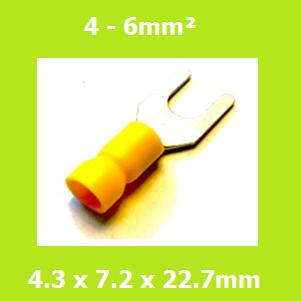 Spade Terminal,  Fork Terminals, SVYS5-4, 4.3mm, Yellow, Vinyl Insulated, (Pack of 100)