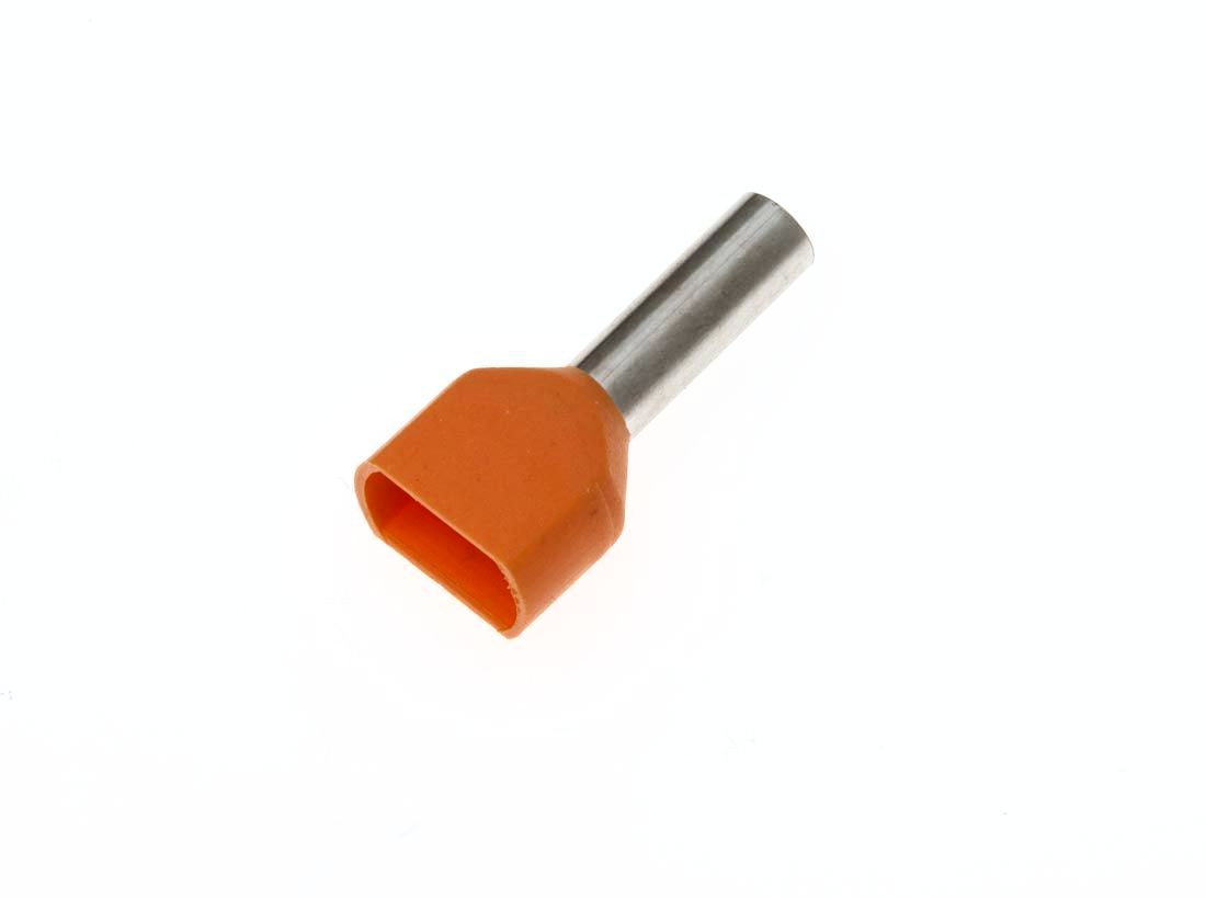 TE4012 ORANGE Twin Entry 2 x 4mm² Bootlace Ferrules Cord End Terminals, 12mm Long, PACK OF 100